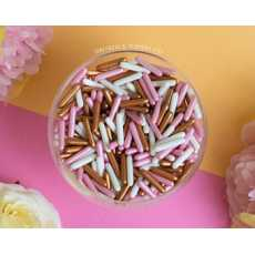 Edible pink white and copper Rods sprinkles for cake and desserts decoration...