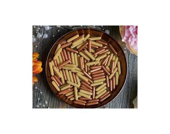 Edible light brown and copper Rods sprinkles for cake decoration Product by...