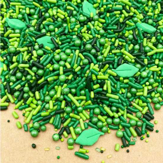 Edible Green Mix Jungle them cake sprinkles for cake and dessert decoration...